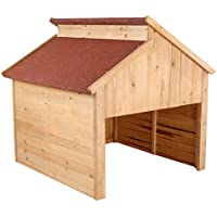 ZELSIUS Holzgarage für Rasenmäher Roboter, Mähroboter Garage, Carport, rot