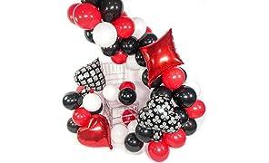 PuTwo Blanc Rouge Noir Ballon, 54pcs 12 Pouces Blanc Ballon Baudruche Rouge Noir 20 Pouces Ballon Aluminium pour Fête Anniversaire Adulte, Casino Decoration, Las Vegas Decoration, Fete Noir et Blanc