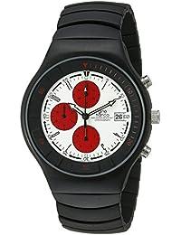 gino franco Men's 957WT Mirano Round Chronograph Black Ion-Plated Watch