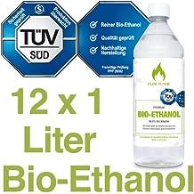 12 x 1L Bioethanol 96,6% - 12 Liter in 1L Flaschen zum handlichen & sicheren Gebrauch - TÜV geprüfte Reinheit, Qualität, Sicherheit & nachhaltige Herstellung - Made in Germany