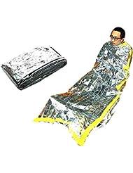 nusey (TM) Lámina de dormir de emergencia al aire libre bolsa impermeable supervivencia Camping reusue térmica saco de dormir 1m x 2m