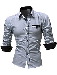 SanKidv-Herren Hemd Slim Fit Fashion Printed Bluse beiläufige Lange Hülsen  Dünne Hemd-Oberseiten Business Hochzeit Freizeit Langarm… 142719505f
