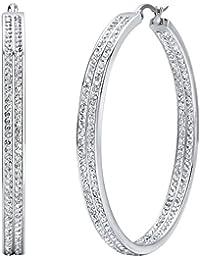 Jstyle Edelstahl Große Creolen Ohrstecker Ohrringe Band Zirkonia Farbegold Silberweiß für Hochzeit Frauen 50mm
