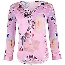 Ropa Camisetas Mujer,Camisas Mujer Elegantes Casual Camisetas Mujer con Estampado Floral Camiseta Blusas Tops