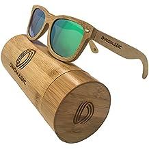 DINOMADic Gafas de sol polarizadas y flotantes de madera de bambú para hombres y mujeres, vintage de madera Gafas de sol estilo Wayfarer con lentes polarizadas y caja de bambú redondeada
