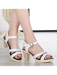 SHOESHAOGE Mi Madre Es Una Elegante Zapato Con Gruesas Con High-Heeled Zapatos, Sandalias ,Eu36.