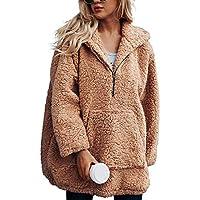 Luckycat Blusa de Punto suéter de Invierno de Las Mujeres Blusa de Manga Larga patrón de búho Bolsillos de Beso Jersey
