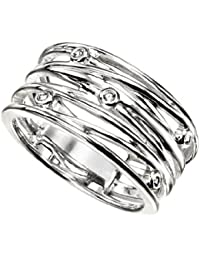 Elements: Criss Cross Band Ring with Cubic Zirconia, Sterling Silver