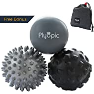 Plyopic Massage Ball Set -Includes Rubber, Spiky and Foam Roller Massager Balls - 7cm | For Myofascial Release, Trigger Point Relief and Plantar Fasciitis Therapy. Eliminate Muscle Pain: Back Neck Foot etc