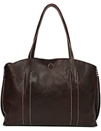 On Clearance - S-Zone Women Vintage Genuine Leather Tote Shoulder Bag Handbag Large Capacity