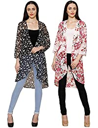 2Day Women's Georgette Combo Of 2 Long Shrug
