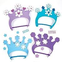 Kit con corone da principessa delle nevi in gommapiuma per bambini, da ideare, creare e indossare - Accessorio creativo per attività da festa invernale/natalizia per bambini (confezione da 4)