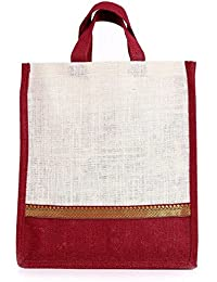 YRS Jute Shopping Bags Color: Red Dimension : Length -10 Inch;Height -11.5 Inch;Width -4 Inch.