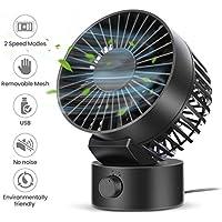 OUTERDO USB Fan Desktop Fan Noiseless Cooling Fan - Double Fan Blades, 1.8m USB Cable, Adjustable Angle, 2 Speeds, Mini Size Portable Desk Fan for Home Office Outdoor Travel