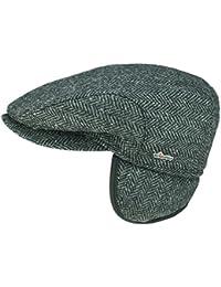 18c12adb748 Wigens David Flatcap Schiebermütze Schirmmütze mit Ohrenklappen aus Wolle  dunkelgrau