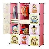BRIAN & DANY Armario Modular Infantil de Puertas con Motivos de Animales Estanterías por Módulos Armario de Almacenaje, Rosada, 110 x 47 x 147 cm