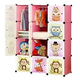BRIAN & DANY Armadio Modulare Bambini, Portatile Guardaroba, Armadietto in Moduli Plastici, 8 Cubo e 2 Aree di…