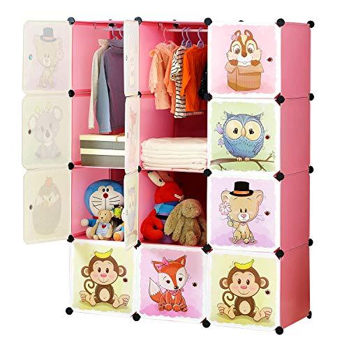 BRIAN & DANY Erweiterbares Kinderregal Kinder Kleiderschrank Stufenregal Bücherregal mit Türen & 2 Aufhängern, tiefere Fächer als normal (45 cm vs. 35 cm) für mehr Platz, 110 x 47 x 147 cm Rosa -