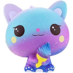 VLAMPO Jumbo Squishies Slow Rising Cat Ice Cream Decoración Squishy Kawaii Stress Relief Toys 5.9 '' (azul claro)