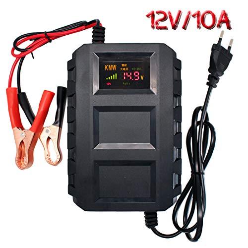 Etrogo Caricabatteria 12V, Mantenitore 10A Multi Protezioni Caricatore Intelligente Automatico con Schermo LCD per Auto, Moto, ATV, Barca,Cam