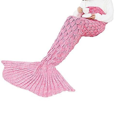 alizeal Strick Wrap Decke Meerjungfrau Schwanz Decke mit Fisch Waage Muster Sofa Wohnzimmer Quilt sleepingcase für Erwachsene Kinder Kleinkinder, rose, 35.5*21.5 inches/90*55cm (Rosen Quilt Muster)