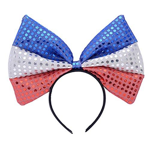 tstag Stirnband Stilvolle Pailletten Bogen Kopfbedeckungs Hoop Flagge Haar Tragen Zubehör (Rot, Weiß, Blau, Haar-bögen)