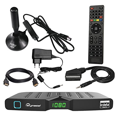 HB DIGITAL DVB-T/T2 SET: Skymaster DTR5000 DVB-T/T2 Receiver, kartenloses Irdeto-Zugangssystem für freenet TV + Xoro HAN 150 DVB-T/T2, FM, DAB Aktive Antenne (Full HD, HEVC/H.265, HDTV, HDMI, Ethernet, USB 2.0 DVBT DVBT2 DVB-T2)