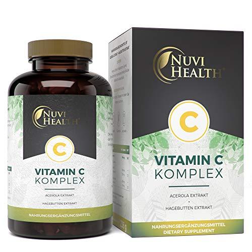 Vitamin C Kapseln (Nuvi Health® Natürlicher Vitamin C Komplex - 240 Kapseln - Acerola-Extrakt & Hagebutten-Extrakt mit 400 mg Vitamin C pro Tagesportion - 4 Monatsvorrat - Hochdosiert - Laborgeprüft - Vegan)