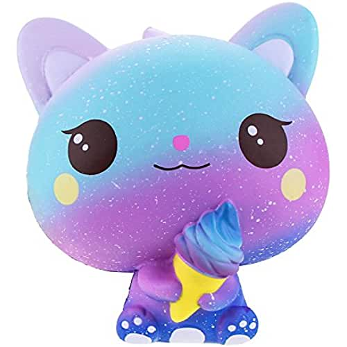 juguetes kawaii VLAMPO Jumbo Squishies Slow Rising Cat Ice Cream Decoración Squishy Kawaii Stress Relief Toys 5.9 (azul claro)