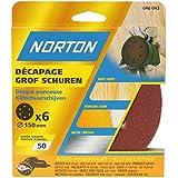 Norton Lot de 6 Disques perfores 6 Trous auto agrippants Diamètre 150 Grain 50