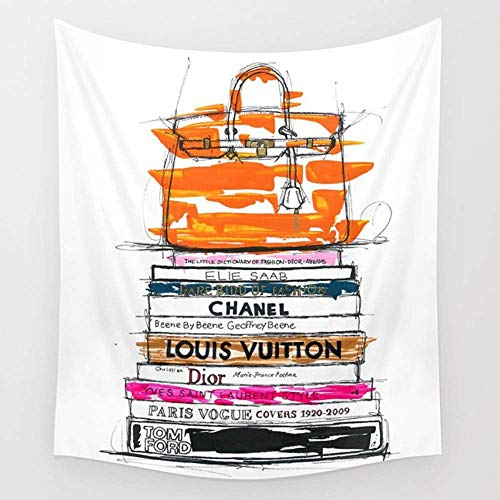 Daawqee Birkin Bag and Fashion Books Wall Wandteppiche Hanging Tapestries Wall Art for Living Room Bedroom Dorm Decor 80X60 inches - Schwarze Birkin Bag