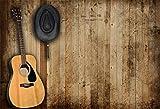 YongFoto 2,2x1,5m Vinile Fondale Foto Cowboy occidentale Cappello da cowboy Chitarra acustica Muro di legno Scena rurale Sfondo fotografico Photo Booth Partito Bambini Photo Studio Puntelli