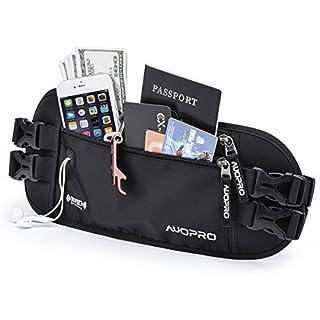 AUOPRO RFID Blocking Travel Money Belt Hidden Zipper Fanny Waist Pack - Double Waistband (Black)