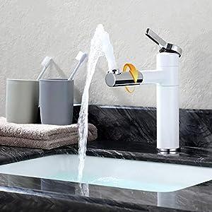WOOHSE Grifo de Lavabo de 360° Giratorio Grifería de Baño Diseño Monomando Alto Mezclador del Lavabo Grifería de Baño…