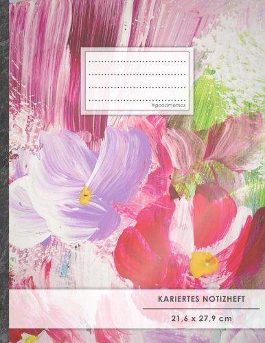 """Kariertes Notizbuch • A4-Format, 100+ Seiten, Soft Cover, Register, Mit Rand, """"Abstrakte Blumen"""" • Original #GoodMemos Quad Ruled Notebook • Perfekt als Tagebuch, Skizzenbuch, Notizheft, Matheheft"""