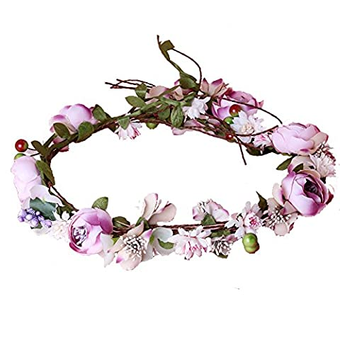 Rose Flower Wreath Headband Bridal Crown Boho Floral Garland for Festival Wedding