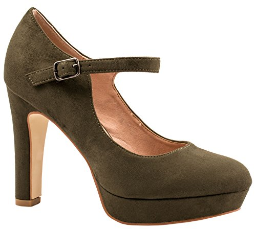 Elara Damen High Heels | Bequeme Spangen Pumps | Riemchen Stilettos | chunkyrayan Grün Atlanta