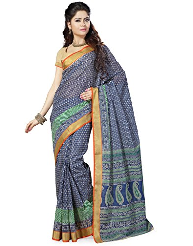 Saree Swarg Multi Color Cotton Blend Saree with Blouse  available at amazon for Rs.495