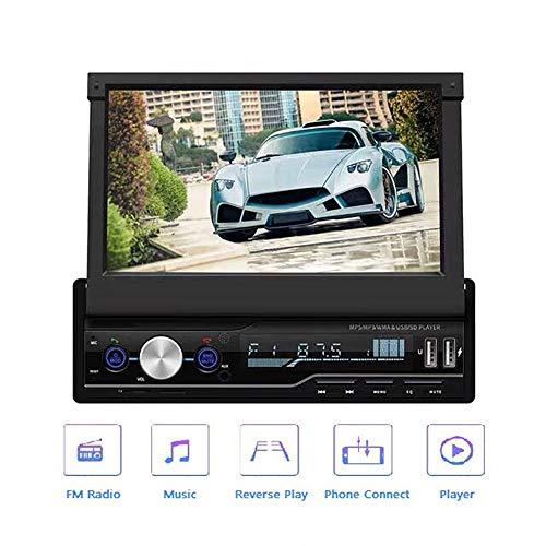 Hakeeta TDA7388 Autoradio, 7\'\' Touchscreen Bildschirm Ausfahrbar, Lenkradsteuerung, Bluetooth Freisprecheinrichtung, RDS, USB, AUX, Kompatibel mit Android (mit GPS und 4-Rückfahrkamera)