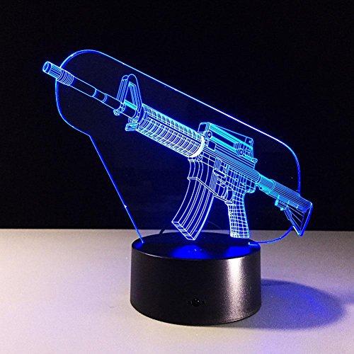 GZXCPC Spielzeug-Gewehr 3D optische Täuschung-Lampe, 7 Farben, die geführtes Nachtlicht mit Noten-Knopf u. USB-Kabel für die Kind-Schlafen- / Hauptdekoration- / Geschenk- / Kunst-Skulptur-Licht ändern