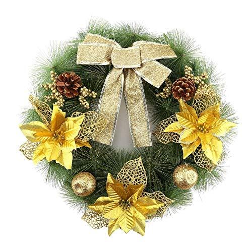 Durobayuusaku Durchmesser 40cm Weihnachtskranz aus Kiefernnadel Bogen Weihnachtsdekoration Partybedarf Startseite Außerhalb Baumschmuck