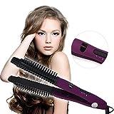 Besmall 4-in-1 Digitale Ionic Anti Static elektrische keramische Haarbürste Haarglätter Lockenbürste Warmluftbürste Bürstenkissen Kamm(Violett)