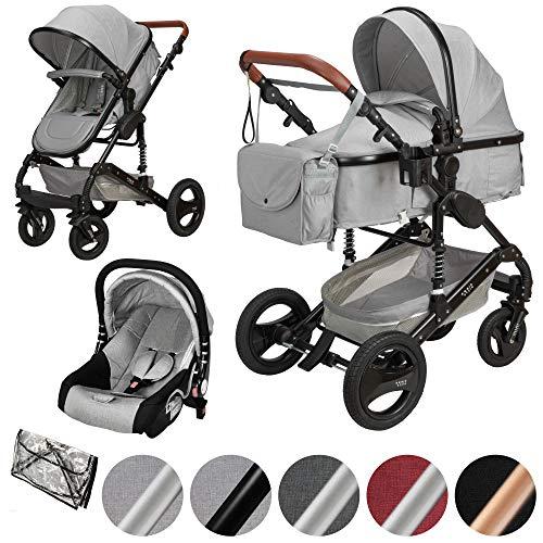 ib style® SOLE 3 in 1 Kombi Kinderwagen | inkl. Auto Babyschale | Zusammenklappbar | inkl. Regen- & Mückenschutz | 0-15kg |Hellgrau/Schwarz