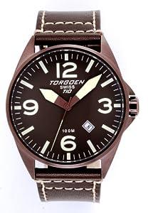 Torgoen T10103 - Reloj unisex de cuarzo, correa de piel color negro de Torgoen
