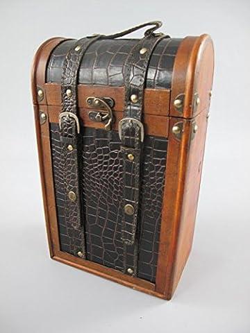 Wine Box (2 Bottles)Wood/Leather Brown/Black H. 35 x 22