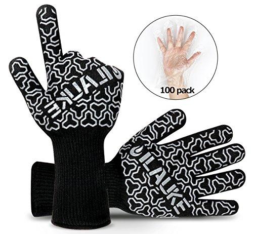 Grillhandschuhe Premium bis 500 °C Grill Ofenhansschuhe ilauke Kamin Backen Hitzebeständige Handschuhe aus Kevlar-Nomex Gewebe EN407 2er extra lang für extreme Sicherheit gratis 100 Einweg Handschuhe -
