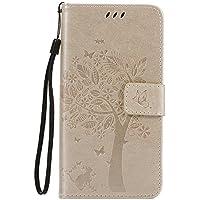 Thrion Huawei P9 Lite Funda, Flores Cierre Magnético Billetera con Tapa para Tarjetas de Cárcasa Elegante Retro Suave PU Cuero Caso Protectora Case - Oro