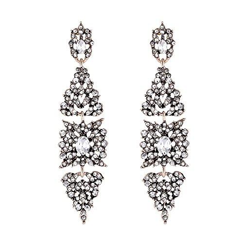 EVER FAITH Women's Austrian Crystal Vintage Style Art Deco Floral Leaf Dangle Earrings Clear Antique Gold-Tone -