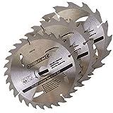 Toolzone Pa021184mm TCT Lames de scie circulaire 20/24/40dents avec adaptateur joints toriques–Argent (3Pièces)