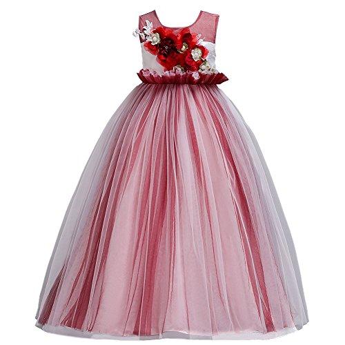 Blumenmädchenkleider Mädchen Kinder Tüll Spitze Hochzeitskleid Brautjungfern Kleid Prinzessin...
